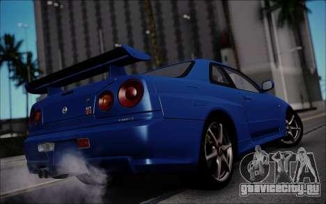 Nissan Skyline GT-R V Spec II 2002 для GTA San Andreas вид сзади слева