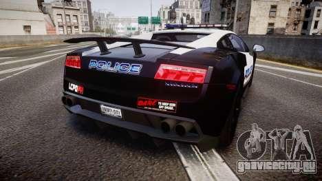 Lamborghini Gallardo LP570-4 LCPD [ELS] для GTA 4 вид сзади слева