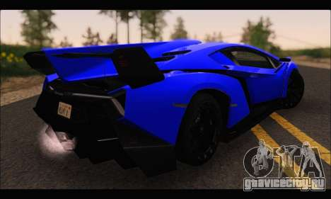 Lamborghini Veneno White-Black 2015 (ADD IVF) для GTA San Andreas вид сзади слева