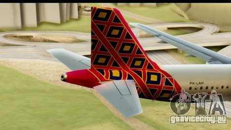 Airbus A320 Batik Air для GTA San Andreas вид сзади слева