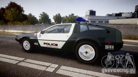 DeLorean DMC-12 [Final] Police для GTA 4 вид слева