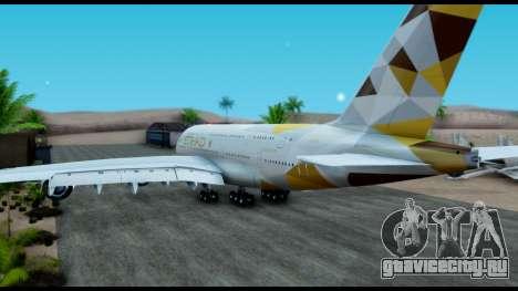 Airbus A380-800 Etihad New Livery для GTA San Andreas вид слева