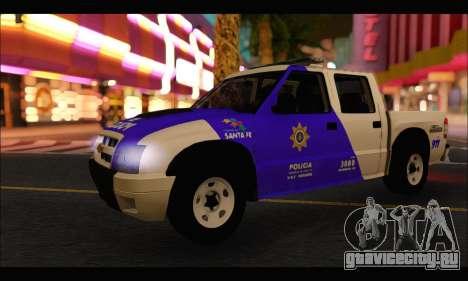 Chevrolet S-10 Policia de Santa Fe для GTA San Andreas вид сзади слева
