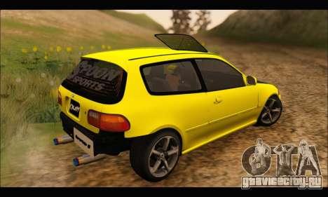 Honda Civic EG6 для GTA San Andreas вид сзади слева