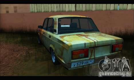 ВАЗ 2107 Rusty для GTA San Andreas вид сзади слева