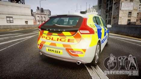Volvo V40 Metropolitan Police [ELS] для GTA 4 вид сзади слева