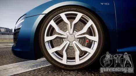 Audi R8 Spyder 2014 [EPM] для GTA 4 вид сзади