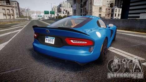 Dodge Viper SRT 2013 rims2 для GTA 4 вид сзади слева