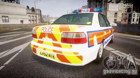 Vauxhall Omega Metropolitan Police [ELS] для GTA 4 вид сзади слева