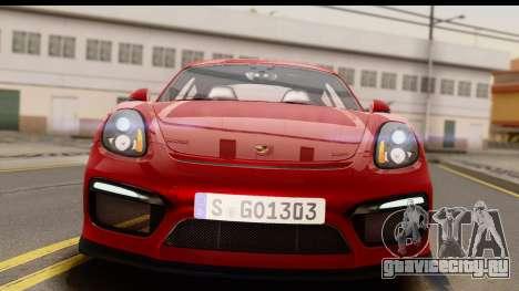 Porsche Cayman GT4 981c 2016 EU Plate для GTA San Andreas вид справа