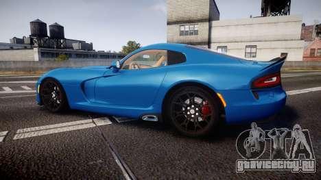 Dodge Viper SRT 2013 rims2 для GTA 4 вид слева