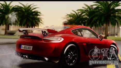 Porsche Cayman GT4 981c 2016 EU Plate для GTA San Andreas вид слева
