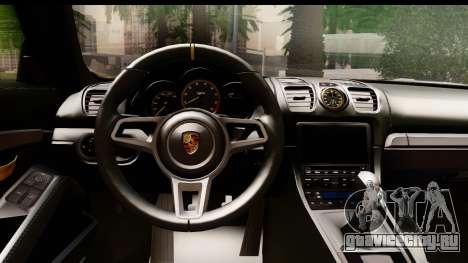 Porsche Cayman GT4 981c 2016 EU Plate для GTA San Andreas вид изнутри
