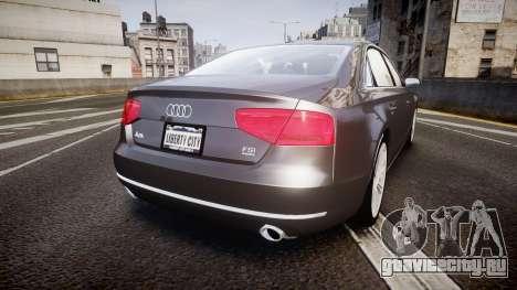 Audi A8 L 4.2 FSI quattro для GTA 4 вид сзади слева