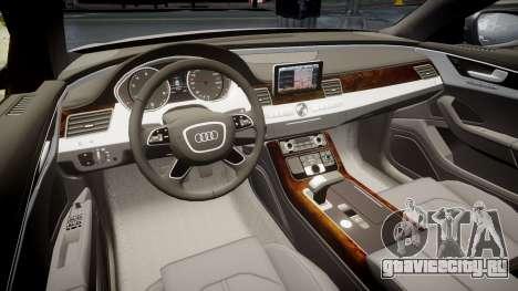 Audi A8 L 4.2 FSI quattro для GTA 4 вид изнутри