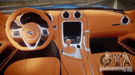 Dodge Viper SRT 2013 rims2 для GTA 4 вид сзади
