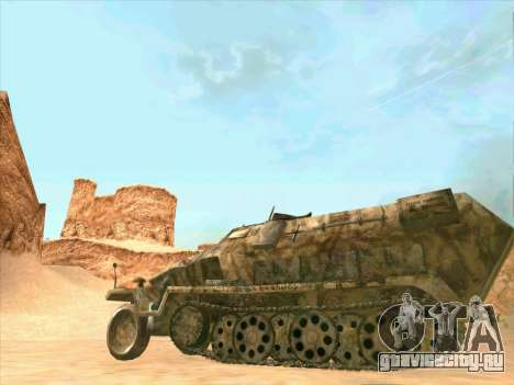Sd Kfz 251 Пустынный Камуфляж для GTA San Andreas вид сзади