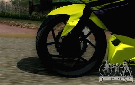 Kawasaki Ninja 250RR Mono Yellow для GTA San Andreas вид сзади слева