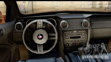 Ford Mustang GT для GTA San Andreas вид изнутри