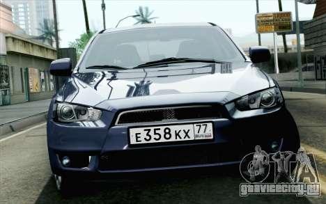 Mitsubishi Lancer X для GTA San Andreas вид сзади