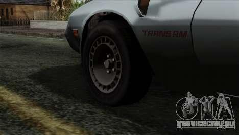 Pontiac Trans AM Interior для GTA San Andreas вид сзади слева