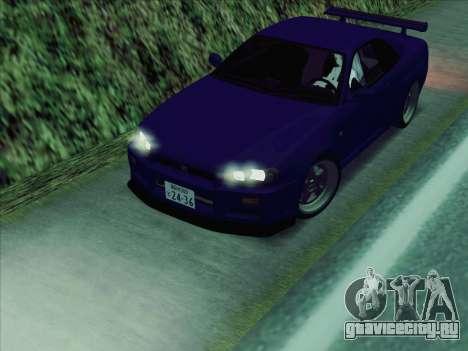 Nissan Skyline GT-R V-Spec (BNR34) для GTA San Andreas вид сзади слева