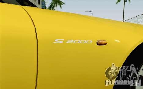 Honda S2000 Cabrio для GTA San Andreas вид сзади