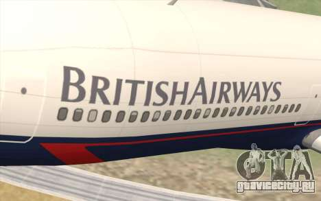 Lookheed L-1011 British Airways для GTA San Andreas вид сзади