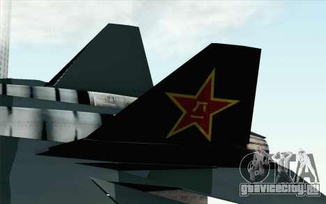 Sukhoi PAK-FA China Air Force для GTA San Andreas вид сзади слева