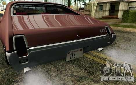 Oldsmobile 442 Holiday Coupe 1969 HQLM для GTA San Andreas вид сзади