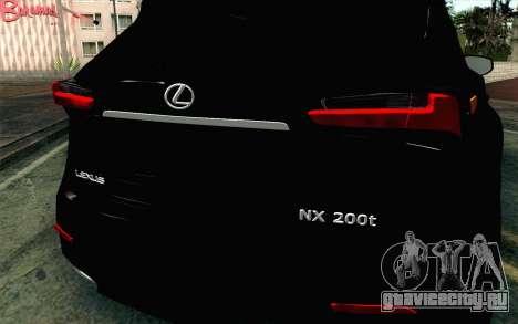Lexus NX 200T v4 для GTA San Andreas вид сзади