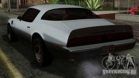 Pontiac Trans AM Interior для GTA San Andreas вид слева