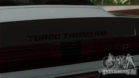 Pontiac Trans AM Interior для GTA San Andreas вид справа