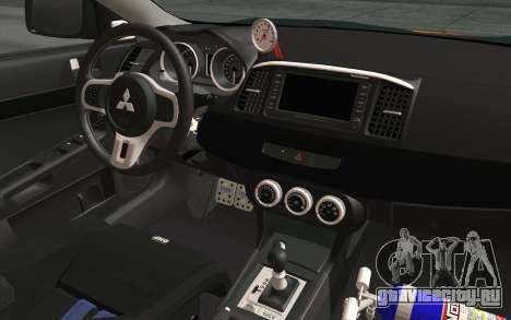 Mitsubishi Lancer Evolution X v2 для GTA San Andreas вид сзади