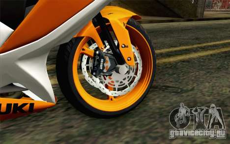 Suzuki GSX-R 600 2015 Orange для GTA San Andreas вид сзади слева