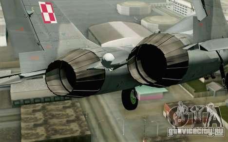 MIG-29 Polish Air Force для GTA San Andreas вид сзади