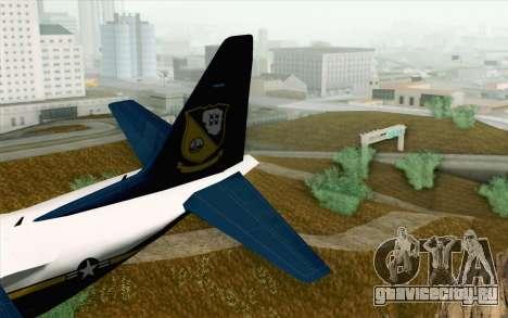 C-130H Hercules Blue Angels для GTA San Andreas вид сзади слева