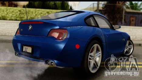 BMW Z4M Coupe 2008 для GTA San Andreas вид слева