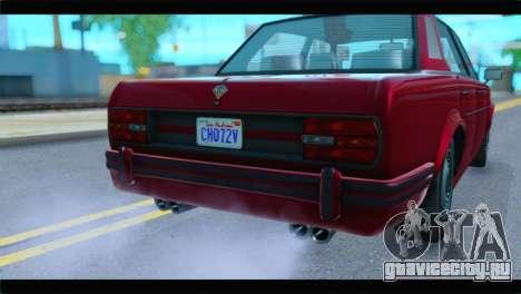 GTA 5 Benefactor Glendale Special IVF для GTA San Andreas вид сзади