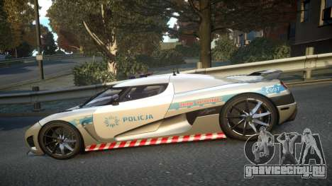 Koenigsegg Agera Polish Highway Patrol Police для GTA 4 вид слева