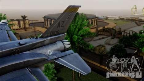 EMB F-16F Fighting Falcon US Air Force для GTA San Andreas вид сзади слева
