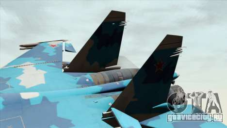 SU-33 Flanker-D Blue Camo для GTA San Andreas вид сзади слева