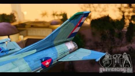 MIG-21MF Cuban Revolutionary Air Force для GTA San Andreas вид сзади слева