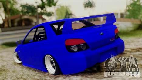 Subaru Impreza WRX STI для GTA San Andreas вид сзади слева