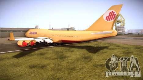 GTA V 747 Adios Airlines для GTA San Andreas вид сзади слева