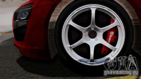 Audi R8 V10 v1.0 для GTA San Andreas вид сзади слева