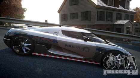 Koenigsegg Agera Polish Highway Patrol Police для GTA 4 вид сзади