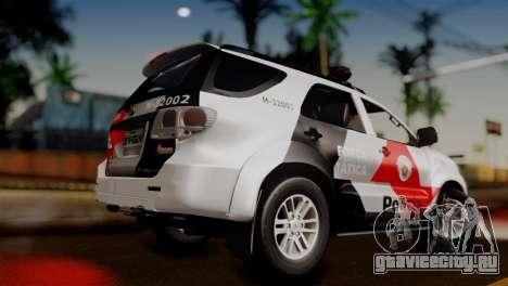 Toyota Hilux SW4 2014 Forca Tatica для GTA San Andreas вид слева