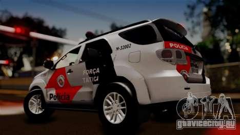 Toyota Hilux SW4 2014 Forca Tatica для GTA San Andreas вид сзади слева