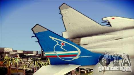 MIG-29 Fulcrum Reskin для GTA San Andreas вид сзади слева